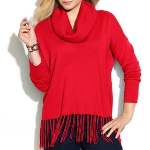 Michael Kors Red fringe bottom sweater